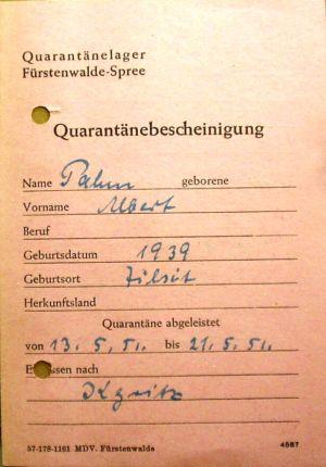 Dokument zur Ankunft in Deutschland